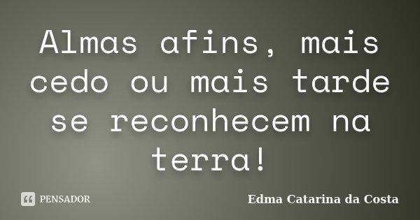Almas afins, mais cedo ou mais tarde se reconhecem na terra!... Frase de Edma Catarina da Costa.