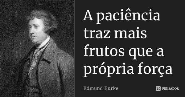 A paciência traz mais frutos que a própria força... Frase de Edmund Burke.