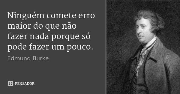 Ninguém comete erro maior do que não fazer nada porque só pode fazer um pouco.... Frase de Edmund Burke.