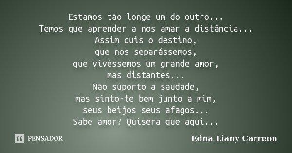 Estamos tão longe um do outro... Temos que aprender a nos amar a distância... Assim quis o destino, que nos separássemos, que vivêssemos um grande amor, mas dis... Frase de Edna Liany Carreon.