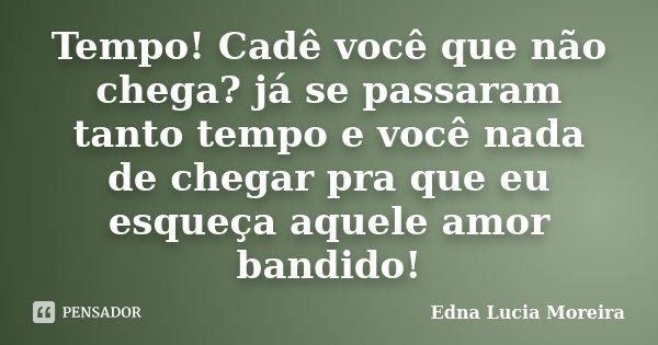 Tempo! Cadê você que não chega? já se passaram tanto tempo e você nada de chegar pra que eu esqueça aquele amor bandido!... Frase de Edna Lucia Moreira.