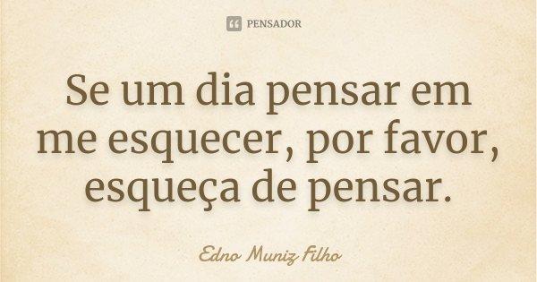 Se um dia pensar em me esquecer, por favor, esqueça de pensar.... Frase de Edno Muniz Filho.