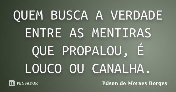 QUEM BUSCA A VERDADE ENTRE AS MENTIRAS QUE PROPALOU, É LOUCO OU CANALHA.... Frase de Edson de Moraes Borges.