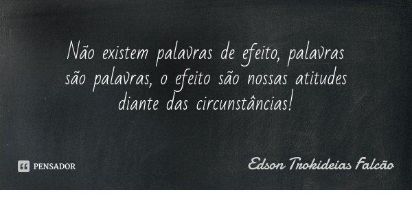 Não existem palavras de efeito, palavras são palavras, o efeito são nossas atitudes diante das circunstâncias!... Frase de Edson Trokideias Falcão.