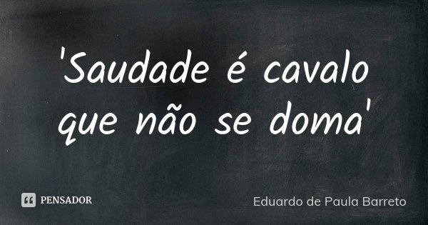 'Saudade é cavalo que não se doma'... Frase de Eduardo de Paula Barreto.
