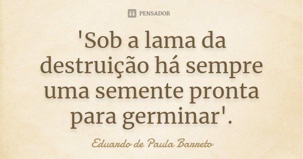 'Sob a lama da destruição há sempre uma semente pronta para germinar'.... Frase de Eduardo de Paula Barreto.