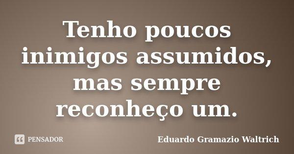 Tenho poucos inimigos assumidos, mas sempre reconheço um.... Frase de Eduardo Gramazio Waltrich.