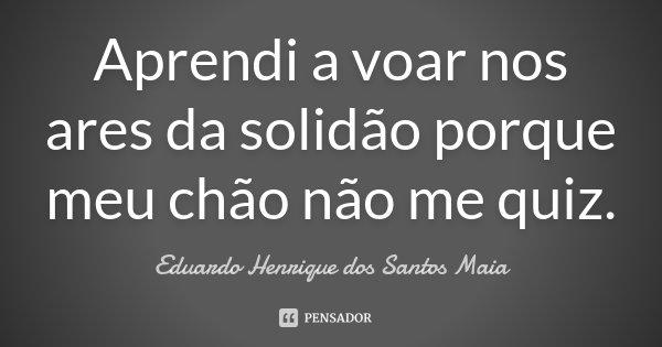 Aprendi a voar nos ares da solidão porque meu chão não me quiz.... Frase de Eduardo Henrique dos Santos Maia.