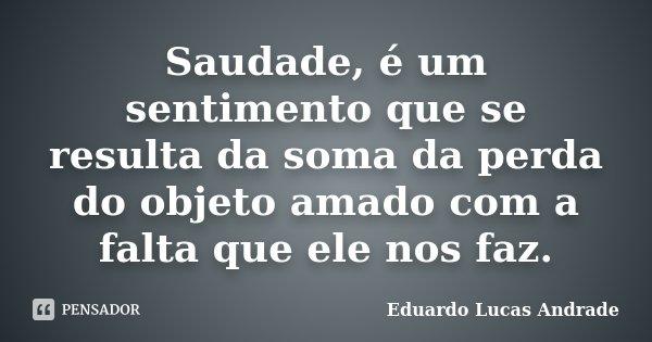Saudade, é um sentimento que se resulta da soma da perda do objeto amado com a falta que ele nos faz.... Frase de Eduardo Lucas Andrade.
