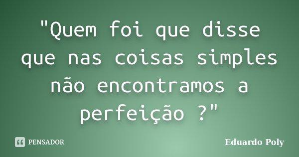 """""""Quem foi que disse que nas coisas simples não encontramos a perfeição ?""""... Frase de Eduardo Poly."""