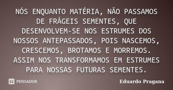 NÓS ENQUANTO MATÉRIA, NÃO PASSAMOS DE FRÁGEIS SEMENTES, QUE DESENVOLVEM-SE NOS ESTRUMES DOS NOSSOS ANTEPASSADOS, POIS NASCEMOS, CRESCEMOS, BROTAMOS E MORREMOS. ... Frase de Eduardo Pragana.
