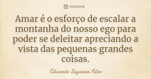Amar é o esforço de escalar a montanha do nosso ego para poder se deleitar apreciando a vista das pequenas grandes coisas.... Frase de Eduardo Siqueira Filho.
