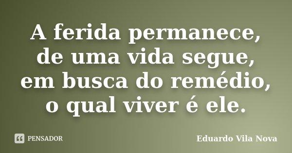A ferida permanece, de uma vida segue, em busca do remédio, o qual viver é ele.... Frase de Eduardo Vila Nova.