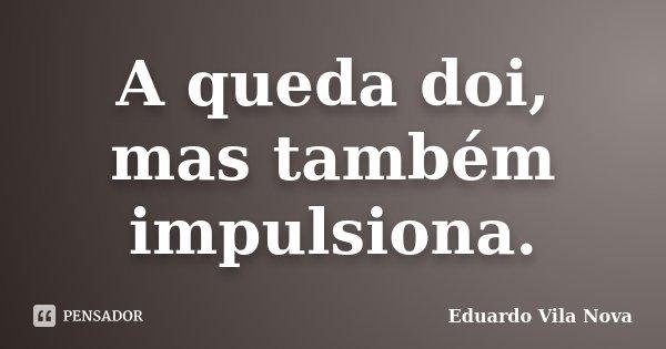 A queda doi, mas também impulsiona.... Frase de Eduardo Vila Nova.