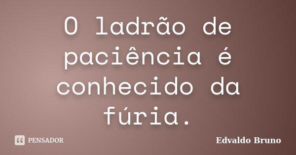 O ladrão de paciência é conhecido da fúria.... Frase de Edvaldo Bruno.
