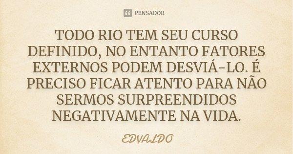 TODO RIO TEM SEU CURSO DEFINIDO, NO ENTANTO FATORES EXTERNOS PODEM DESVIÁ-LO. É PRECISO FICAR ATENTO PARA NÃO SERMOS SURPREENDIDOS NEGATIVAMENTE NA VIDA.... Frase de EDVALDO.