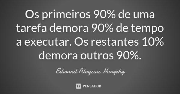 Os primeiros 90% de uma tarefa demora 90% de tempo a executar. Os restantes 10% demora outros 90%.... Frase de Edward Aloysius Murphy.