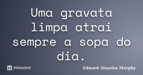 Uma gravata limpa atrai sempre a sopa do dia.... Frase de Edward Aloysius Murphy.