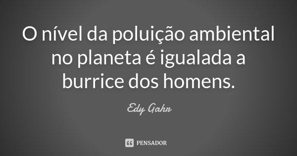 O nível da poluição ambiental no planeta é igualada a burrice dos homens.... Frase de Edy Gahr.