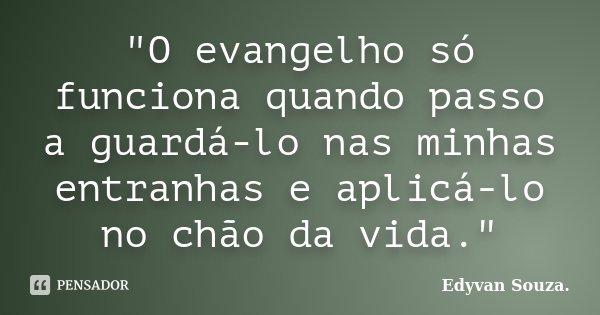 """""""O evangelho só funciona quando passo a guardá-lo nas minhas entranhas e aplicá-lo no chão da vida.""""... Frase de Edyvan Souza."""