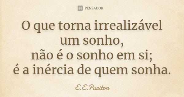 O que torna irrealizável um sonho, não é o sonho em si; é a inércia de quem sonha.... Frase de E.E.Puriton.