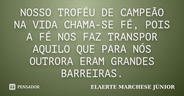 NOSSO TROFÉU DE CAMPEÃO NA VIDA CHAMA-SE FÉ, POIS A FÉ NOS FAZ TRANSPOR AQUILO QUE PARA NÓS OUTRORA ERAM GRANDES BARREIRAS.... Frase de ELAERTE MARCHESE JÚNIOR.