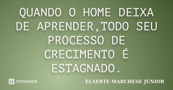 QUANDO O HOME DEIXA DE APRENDER,TODO SEU PROCESSO DE CRECIMENTO É ESTAGNADO.... Frase de ELAERTE MARCHESE JÚNIOR.