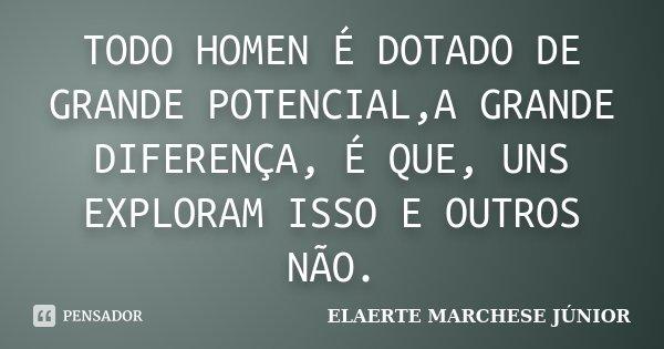 TODO HOMEN É DOTADO DE GRANDE POTENCIAL,A GRANDE DIFERENÇA, É QUE, UNS EXPLORAM ISSO E OUTROS NÃO.... Frase de ELAERTE MARCHESE JÚNIOR.