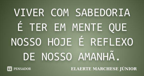VIVER COM SABEDORIA É TER EM MENTE QUE NOSSO HOJE É REFLEXO DE NOSSO AMANHÃ.... Frase de ELAERTE MARCHESE JÚNIOR.