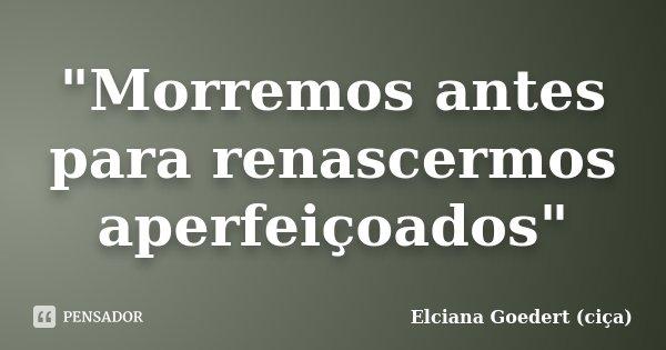 """""""Morremos antes para renascermos aperfeiçoados""""... Frase de Elciana Goedert (ciça)."""