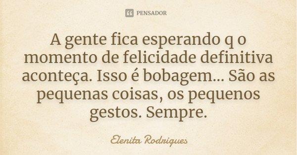 A gente fica esperando q o momento de felicidade definitiva aconteça. Isso é bobagem... São as pequenas coisas, os pequenos gestos. Sempre.... Frase de Elenita Rodrigues.