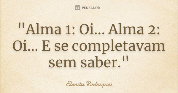 """Alma 1: Oi... Alma 2: Oi... E se completavam sem saber.""... Frase de Elenita Rodrigues."