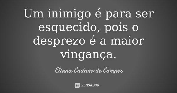 Um inimigo é para ser esquecido, pois o desprezo é a maior vingança.... Frase de Eliana Caitano de Campos.