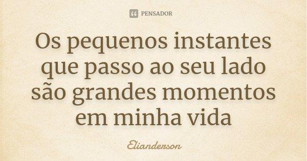 Os pequenos instantes que passo ao seu lado são grandes momentos em minha vida... Frase de Elianderson.