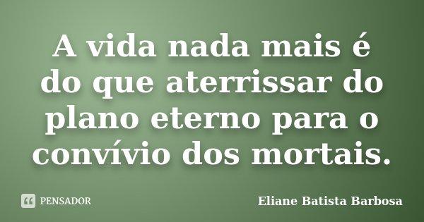 A vida nada mais é do que aterrissar do plano eterno para o convívio dos mortais.... Frase de Eliane Batista Barbosa.