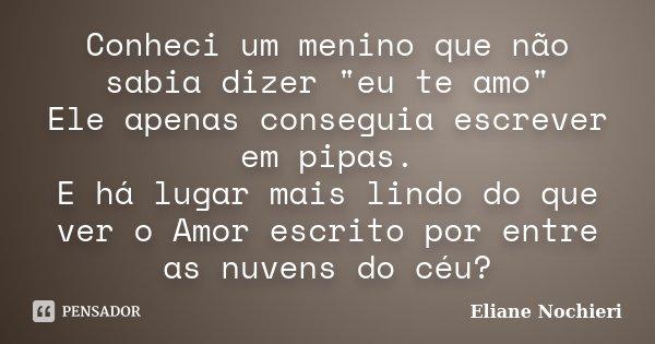 """Conheci um menino que não sabia dizer """"eu te amo"""" Ele apenas conseguia escrever em pipas. E há lugar mais lindo do que ver o Amor escrito por entre as... Frase de Eliane Nochieri."""