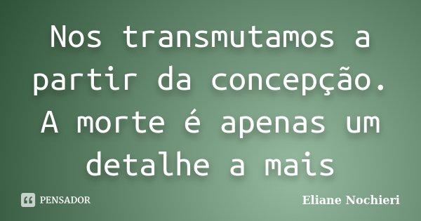 Nos transmutamos a partir da concepção. A morte é apenas um detalhe a mais... Frase de Eliane Nochieri.