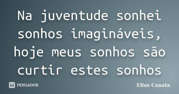 Na juventude sonhei sonhos imagináveis, hoje meus sonhos são curtir estes sonhos... Frase de Elias Canata.
