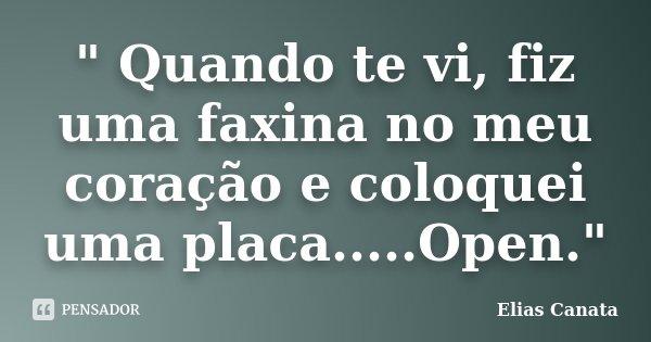 """"""" Quando te vi, fiz uma faxina no meu coração e coloquei uma placa.....Open.""""... Frase de Elias Canata."""