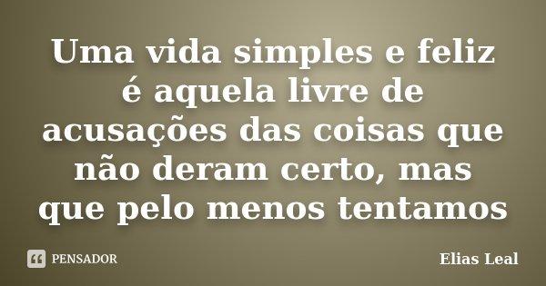 Uma vida simples e feliz é aquela livre de acusações das coisas que não deram certo, mas que pelo menos tentamos... Frase de Elias Leal.