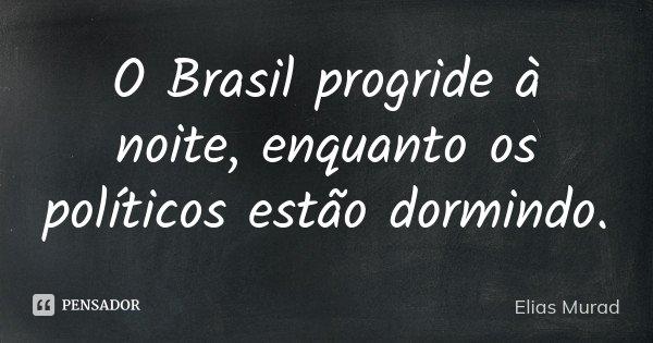 O Brasil progride à noite, enquanto os políticos estão dormindo.... Frase de Elias Murad.