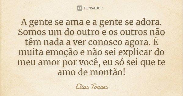A gente se ama e a gente se adora. Somos um do outro e os outros não têm nada a ver conosco agora. É muita emoção e não sei explicar do meu amor por você, eu só... Frase de Elias Torres.