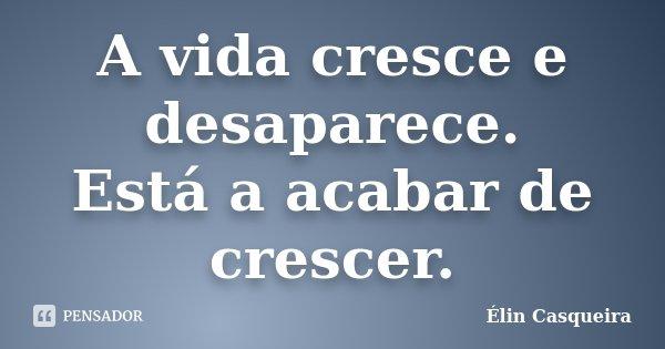 A vida cresce e desaparece. Está a acabar de crescer.... Frase de Elin Casqueira.