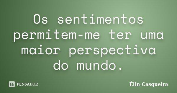 Os sentimentos permitem-me ter uma maior perspectiva do mundo.... Frase de Elin Casqueira.