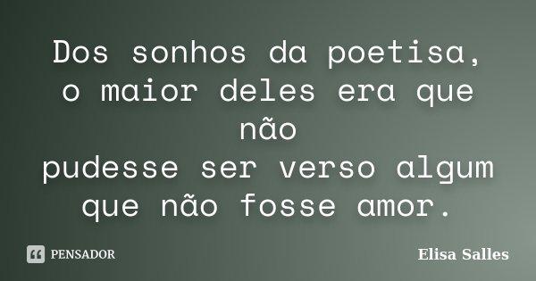 Dos sonhos da poetisa, o maior deles era que não pudesse ser verso algum que não fosse amor.... Frase de Elisa Salles.