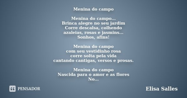Menina Do Campo Menina Do Campo Elisa Salles