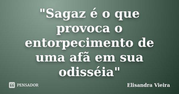 """""""Sagaz é o que provoca o entorpecimento de uma afã em sua odisséia""""... Frase de Elisandra Vieira."""