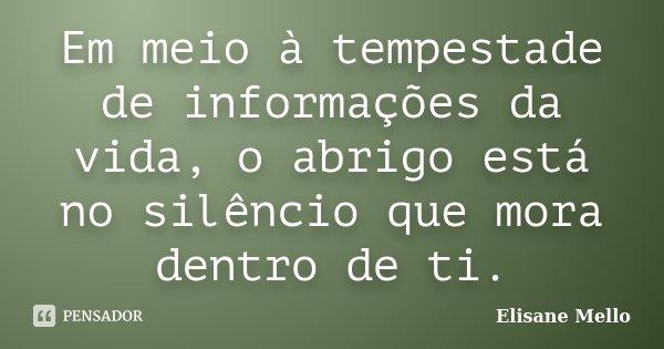 Em meio à tempestade de informações da vida, o abrigo está no silêncio que mora dentro de ti.... Frase de Elisane Mello.