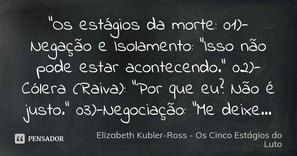 """Frases De Raiva P 3: """"Os Estágios Da Morte:... Elizabeth Kubler-Ross"""
