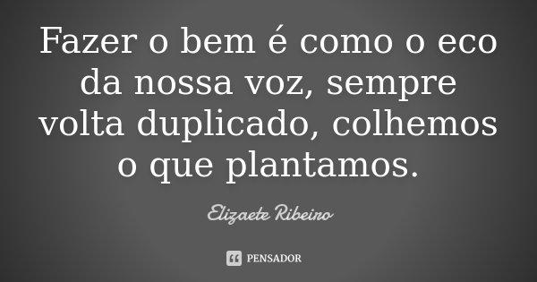 Fazer o bem é como o eco da nossa voz, sempre volta duplicado, colhemos o que plantamos.... Frase de Elizaete Ribeiro.